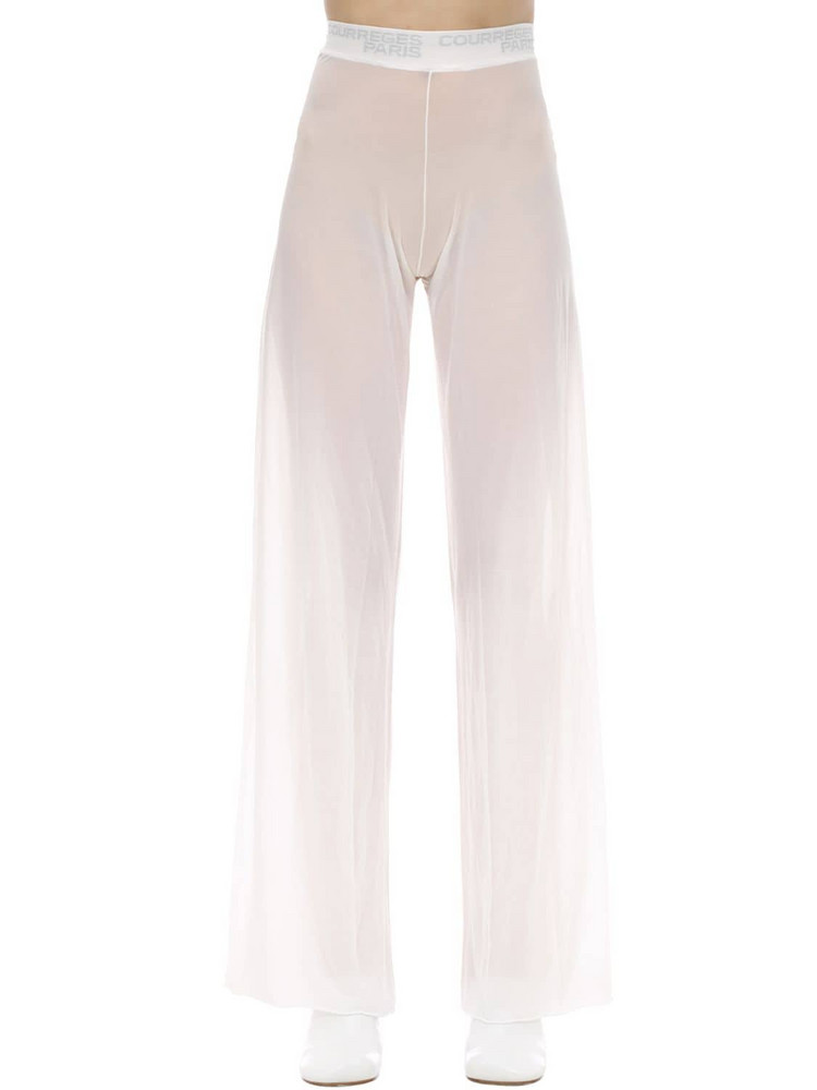 COURREGES Wide Leg Patched Mesh Pants in white