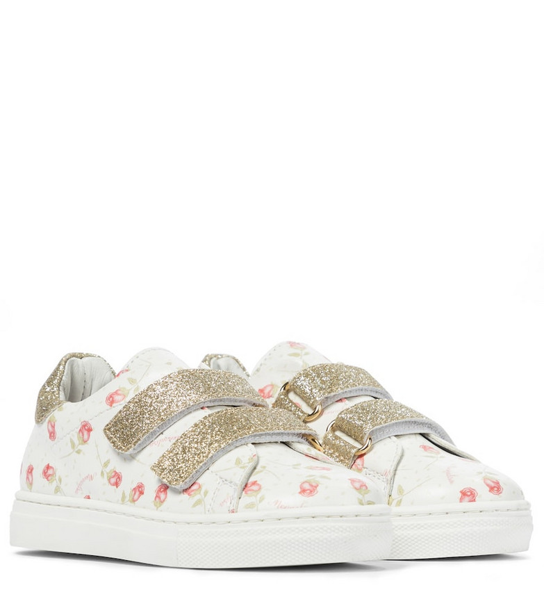 Monnalisa Baby floral leather sneakers in white