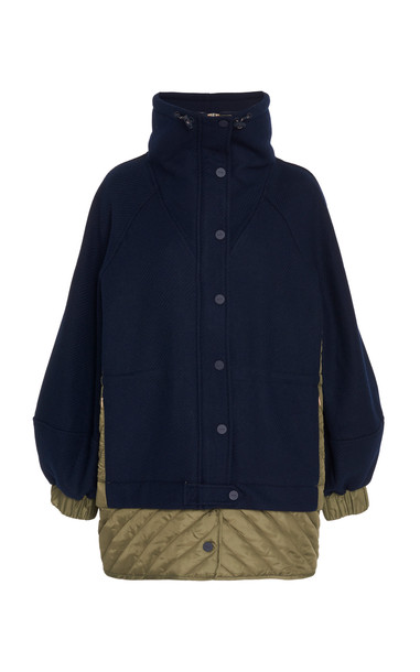 Ganni Paneled Wool-Blend And Quilted Shell Jacket Size: 34 in navy