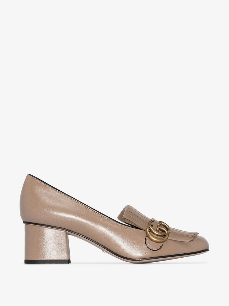 Gucci Marmont 55mm fringed pumps in neutrals