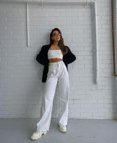 pants,wide-leg pants,white boots,crop tops,black blazer