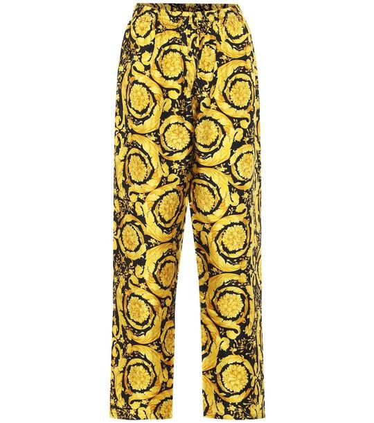 Versace Barocco-print silk pants in gold