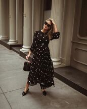 dress,black dress,maxi dress,long sleeve dress,belted dress,polka dots,black bag,handbag