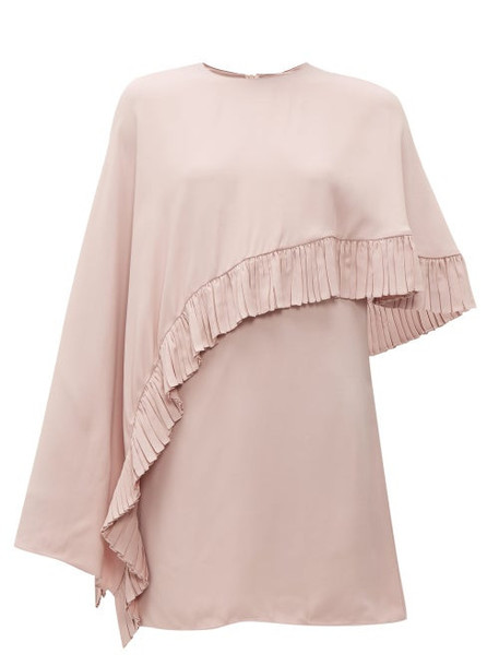 Valentino - Asymmetric Cape Crepe Mini Dress - Womens - Pink