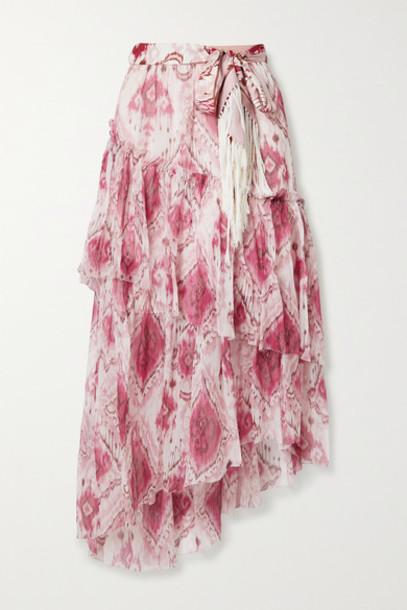 Zimmermann - Tasseled Ruffled Printed Silk-crepon And Twill Midi Skirt - Pink