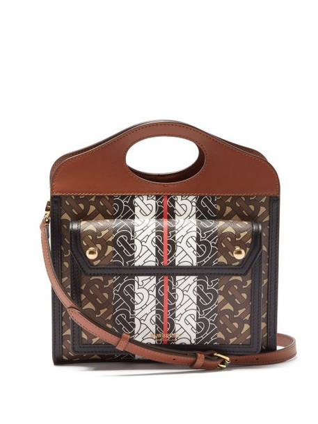 Burberry - Pocket Mini Tb-print Coated-canvas Handbag - Womens - Brown Multi
