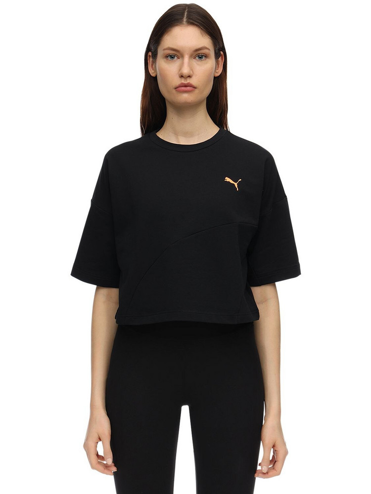 PUMA SELECT Evide Form Stripe Cropped T-shirt in black