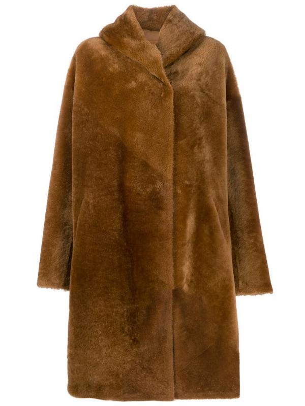 Liska single breasted coat in brown