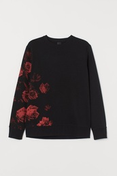 sweater,h&m red roses hoodie&sweater