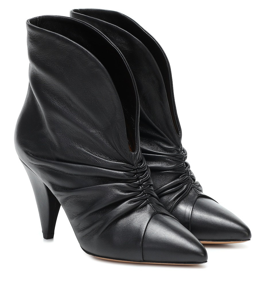 Isabel Marant Lasteen ruched leather ankle boots in black
