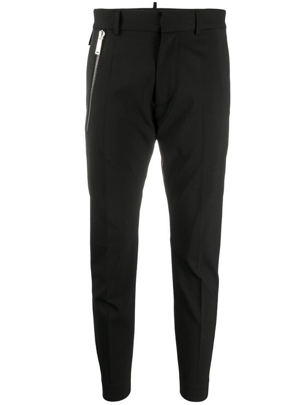 Dsquared2 zipped pocket cropped trousers in black
