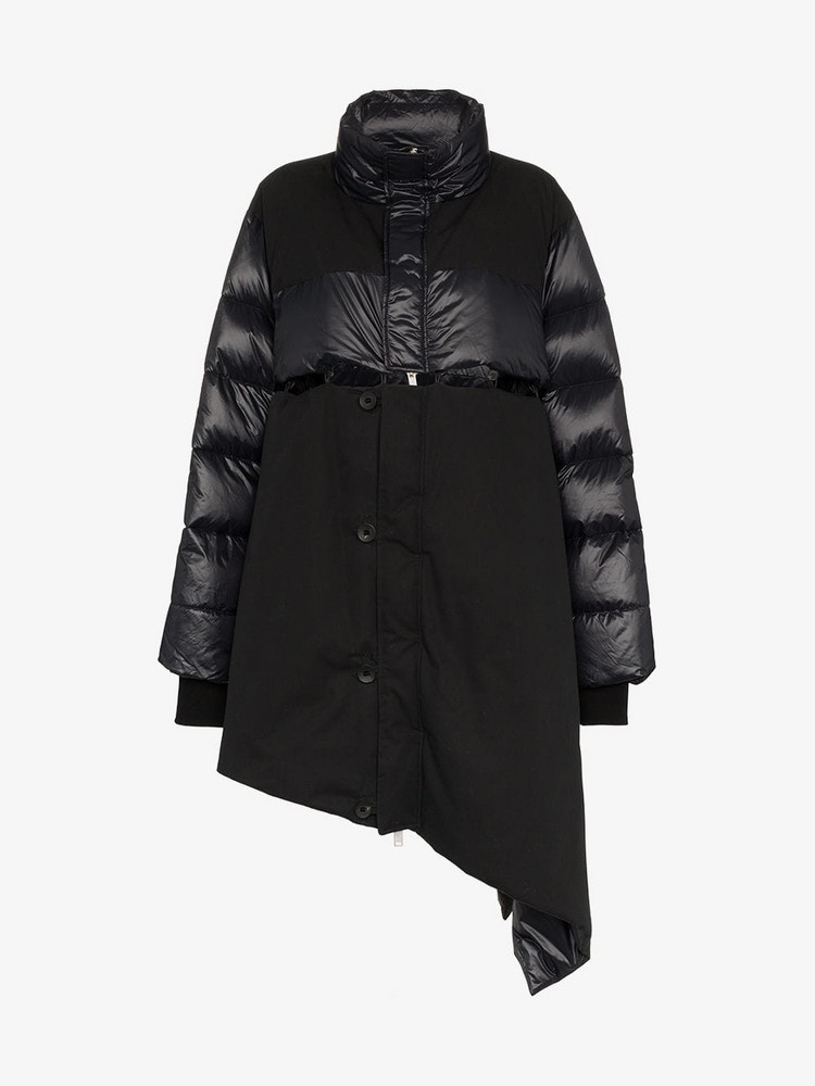 Unravel Project Asymmetric Padded Feather and Cotton Coat in black