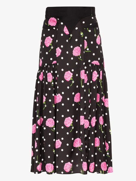 Paco Rabanne Floral print flared skirt