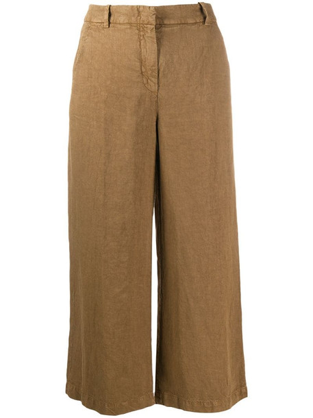 Aspesi linen cropped trousers in brown