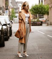 pants,high waisted pants,white sandals,leather,trench coat,bag,white top