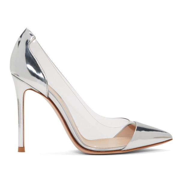 Gianvito Rossi Silver and Gold Patent Plexi 105 Heels