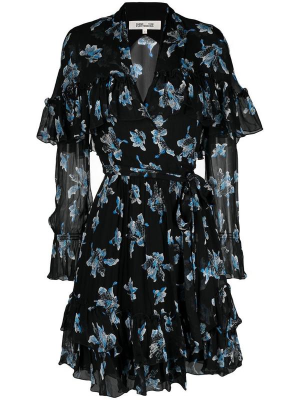 DVF Diane von Furstenberg floral print belted dress in black