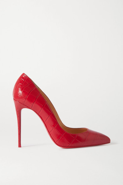 Christian Louboutin - Pigalle Follies 100 Croc-embossed Leather Pumps - Red