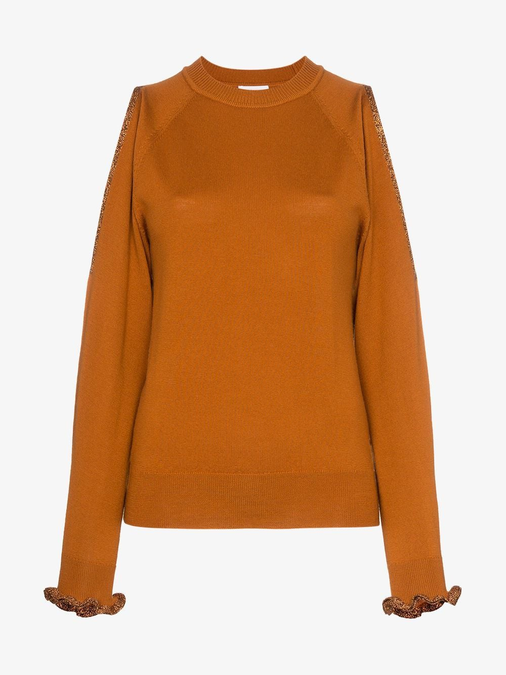 See By Chloé See By Chloé cut out shoulder wool jumper in orange