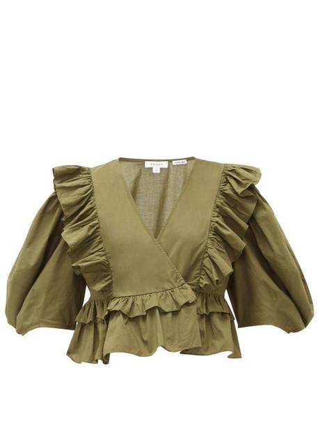 Rhode - Elodie Ruffle-trimmed Cotton-voile Blouse - Womens - Dark Green