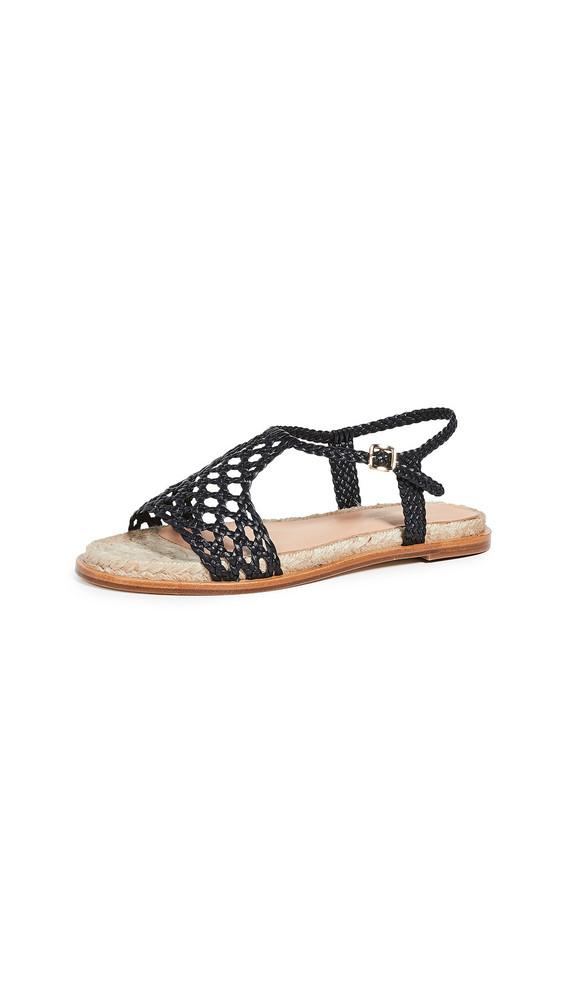 Paloma Barcelo Sandrine Woven Flat Sandals in black