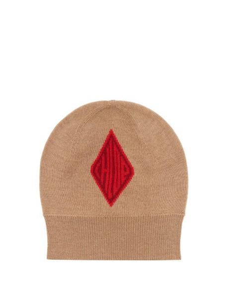 Chloé Chloé - Logo-jacquard Wool Beanie Hat - Womens - Beige