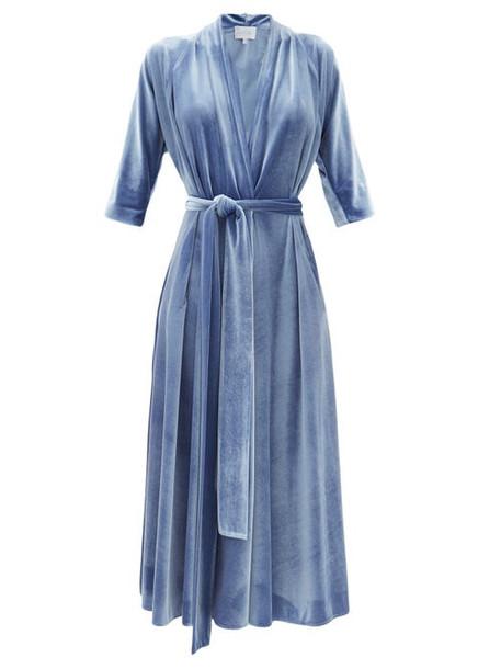 Luisa Beccaria - Tie-waist Velvet Midi Wrap Dress - Womens - Mid Blue