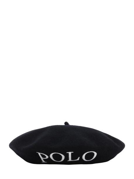 POLO RALPH LAUREN Logo Intarsia Wool Basco Hat in black