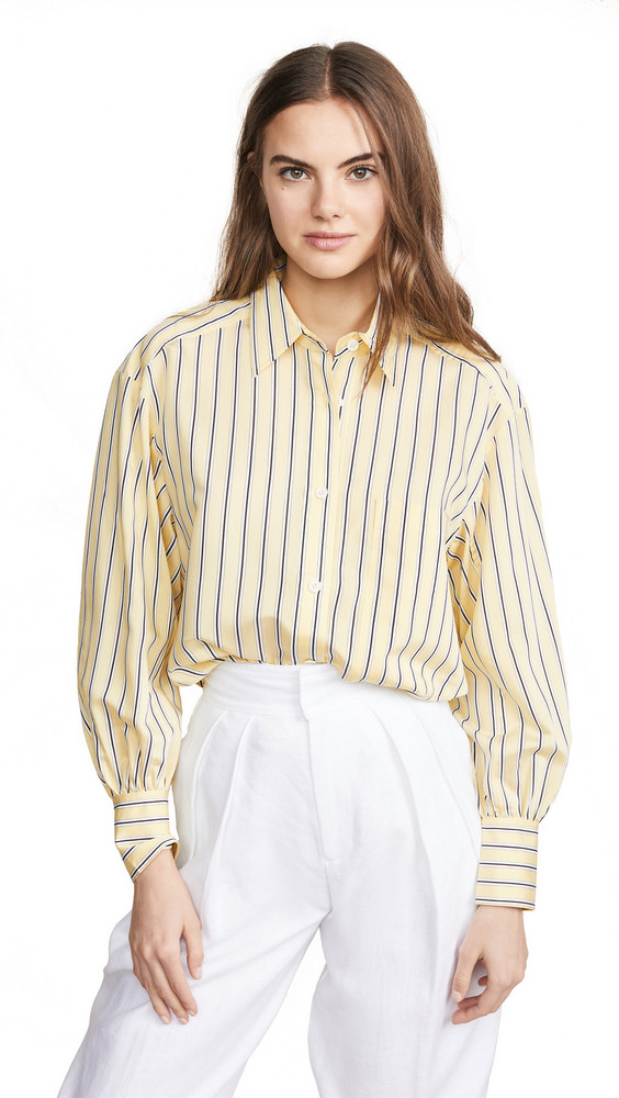 Edition10 Striped Button Down Shirt in black / yellow