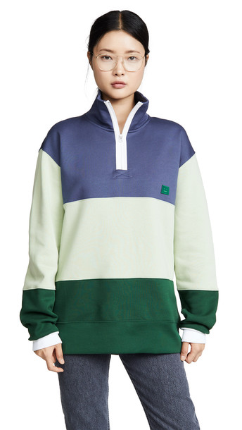 Acne Studios Flint Flag Face Sweatshirt in blue / denim