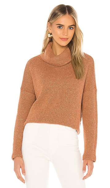 Bobi Soft Sweater Knit Turtleneck in Burnt Orange