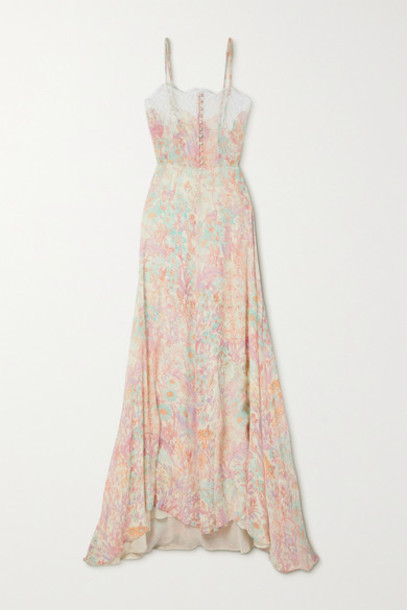 LoveShackFancy - Elma Lace-trimmed Floral-print Crepon Maxi Dress - Pink