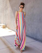 dress,maxi dress,striped dress,sandals,sleeveless dress,sunglasses