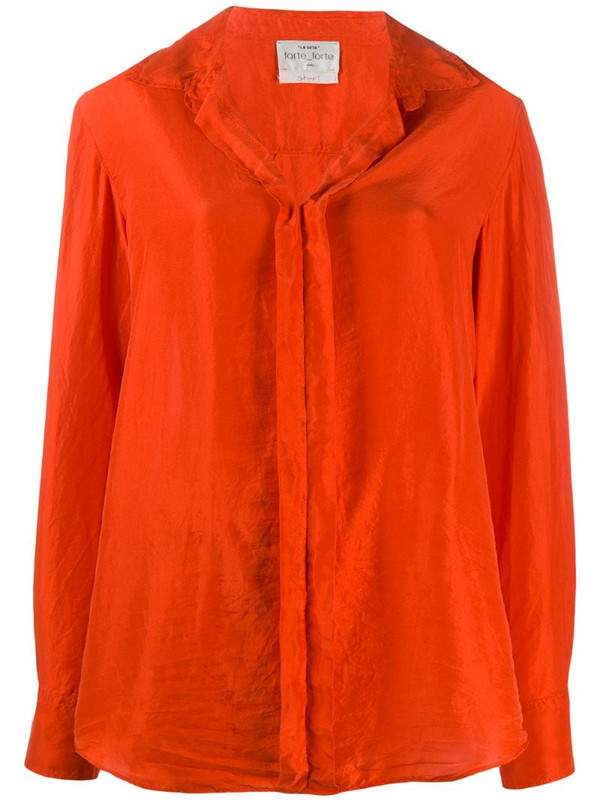 Forte Forte long-sleeve silk shirt in red