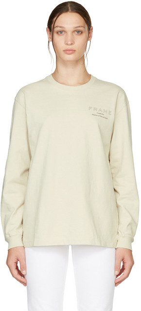 Museum of Peace & Quiet Off-White FRAME Edition Logo T-Shirt in stone