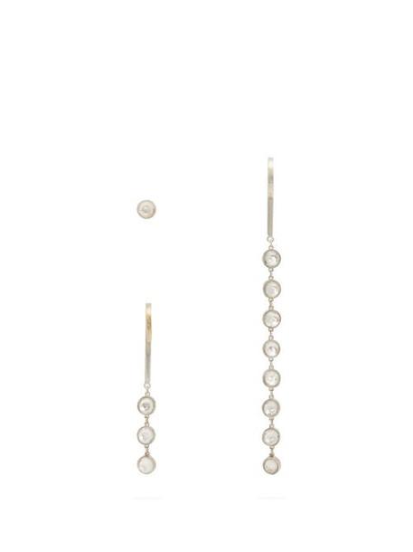 Jil Sander - Set Of Three Crystal Embellished Earrings - Womens - Silver