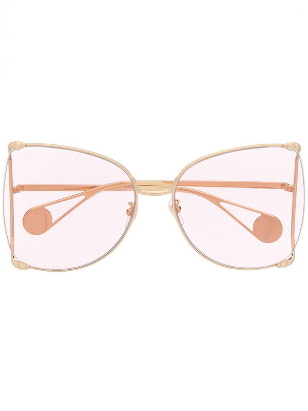 Gucci Eyewear oversized pearl-embellished sunglasses in gold