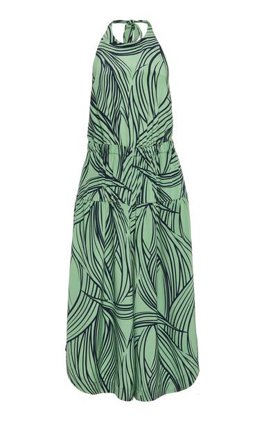 Tibi Printed Halterneck Silk Jumpsuit in green