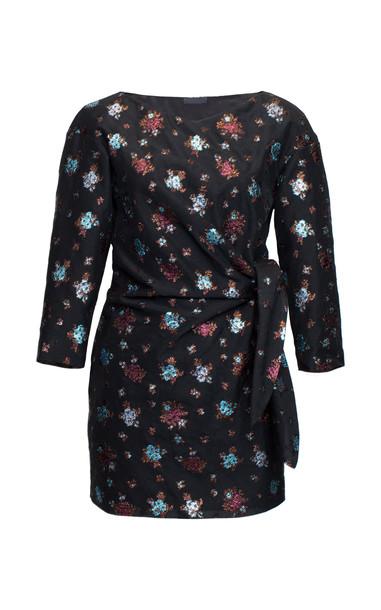 Lake Studio Tie-Detailed Floral-Jacquard Mini Dress in print