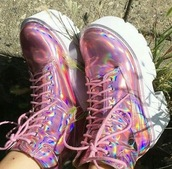 shoes,pink,sneakers,holographic