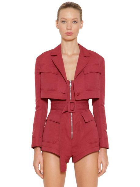 ROBERTO CAVALLI Cropped Linen Jacket in red