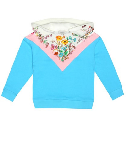 Gucci Kids Printed cotton jersey hoodie in blue