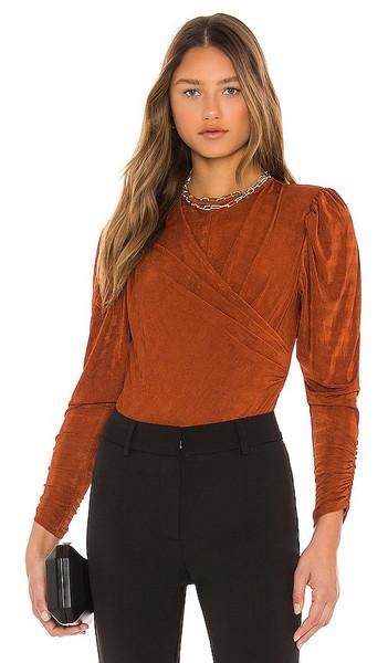 ASTR the Label Beckinsale Bodysuit in Rust in copper