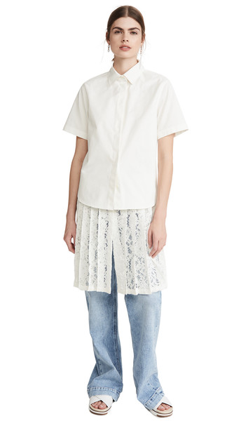 GOEN.J Layered Corded Lace Shirt in ivory