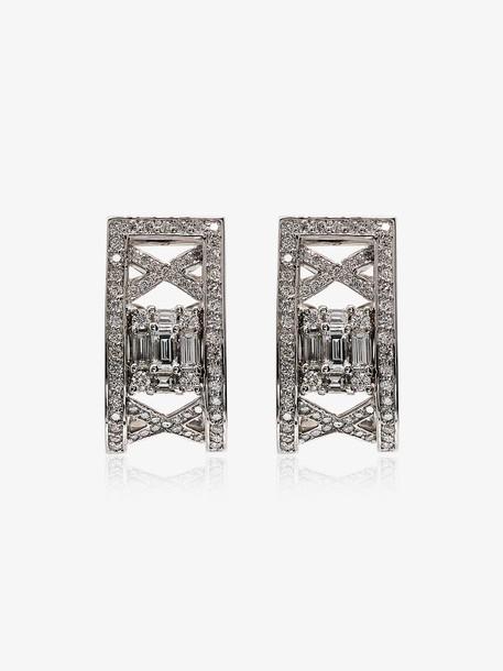 Mindi Mond Clarity lattice diamond hoop earrings in metallic