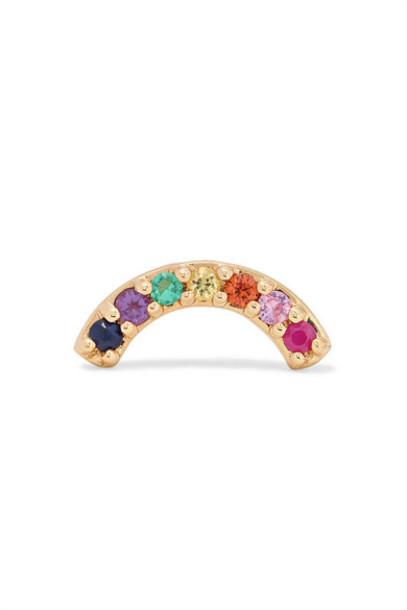 Andrea Fohrman - Single Row Rainbow 14-karat Gold Multi-stone Earring