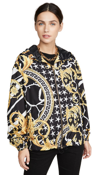 Versace Printed Bomber Jacket in gold / multi