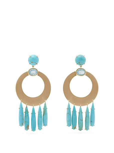 Irene Neuwirth - 18kt Gold, Aquamarine & Turquoise Earrings - Womens - Blue
