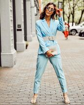 jacket,blazer,blue pants,suit,double breasted,topshop,white sandals,bag