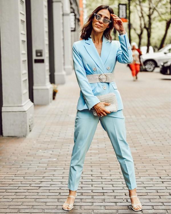 jacket blazer blue pants suit double breasted topshop white sandals bag